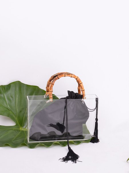 Black Open-top Acrylic Statement Square Top Handle