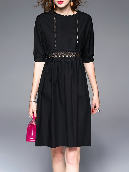 Black A-line Folds Half Sleeve Guipure Lace Midi Dress