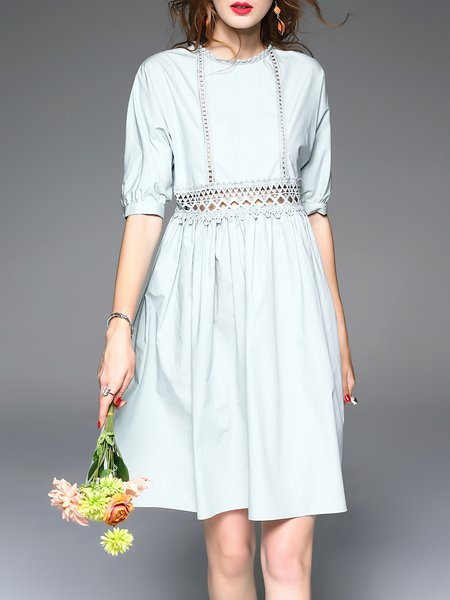 Light Green Half Sleeve Pierced Guipure Lace Midi Dress
