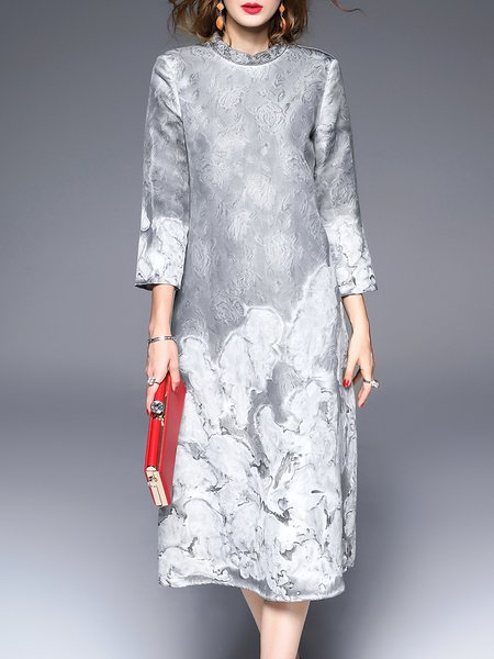 Gray Jacquard A-line 3/4 Sleeve Midi Dress