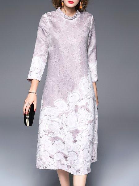 Pink Jacquard 3/4 Sleeve A-line Floral Midi Dress