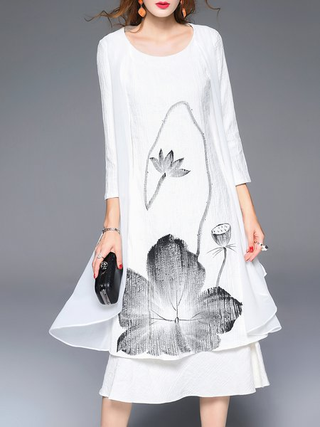 White Tie-Dye Lotus Scoop Neckline 3/4 Sleeve A-line Midi Dress