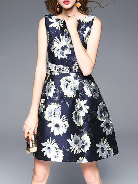 Multicolor Floral-print Sleeveless Skater Midi Dress With Belt