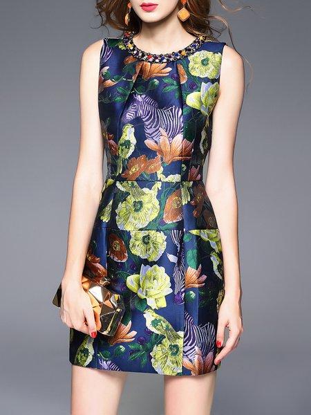 Multicolor Floral Print Beaded Sleeveless Mini Dress