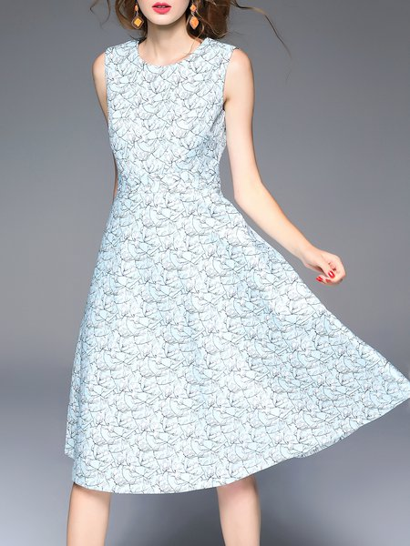 Elegant Sleeveless Floral Print Swing Midi Dress