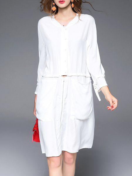 Buttoned 3/4 Sleeve Casual Shift Midi Dress