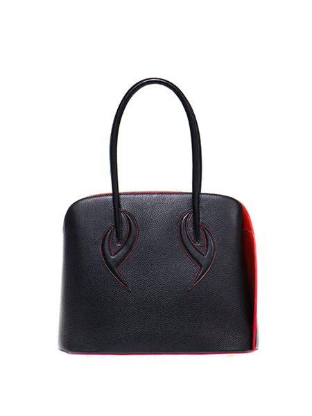 Black Zipper Retro Cowhide Leather Top Handle