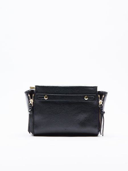 Black Casual Mini Cowhide Leather Satchel