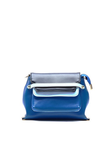 Blue Casual Small Cowhide Leather Crossbody