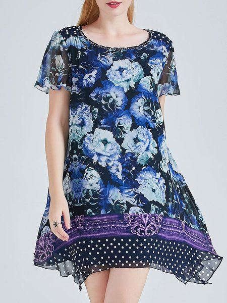 Blue Silk Short Sleeve A-line Printed Mini Dress