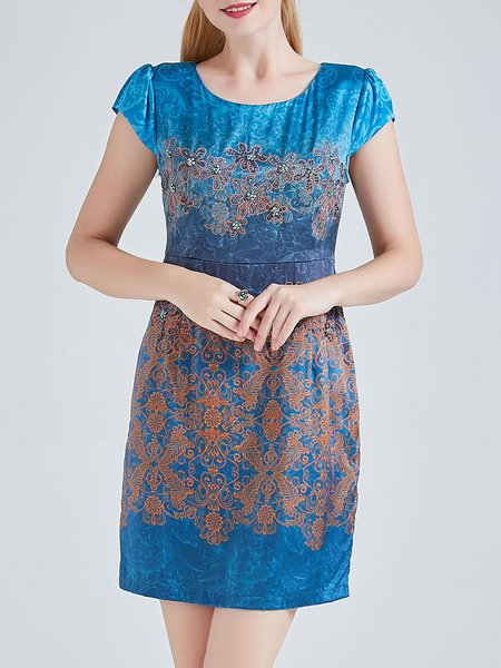 Blue A-line Floral Short Sleeve Mini Dress