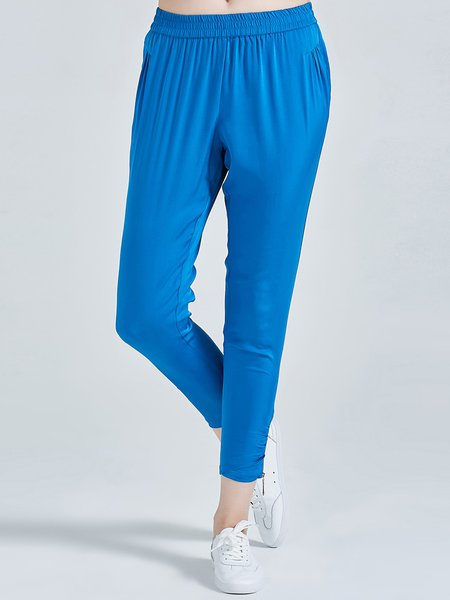 Blue Gathered Casual Plain Simple Straight Leg Pants