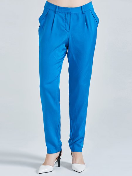 Blue Simple Plain Gathered Silk Folds Straight Leg Pants