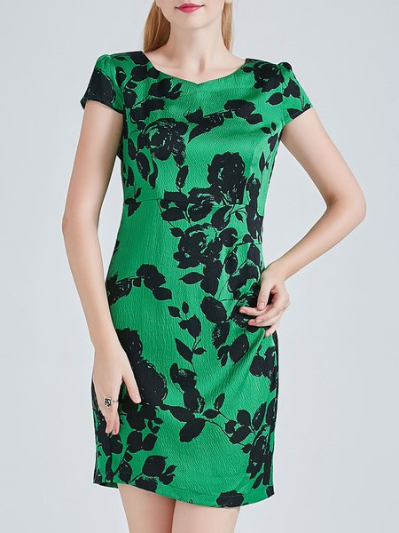 Green Vintage V Neck Silk-blend Mini Dress