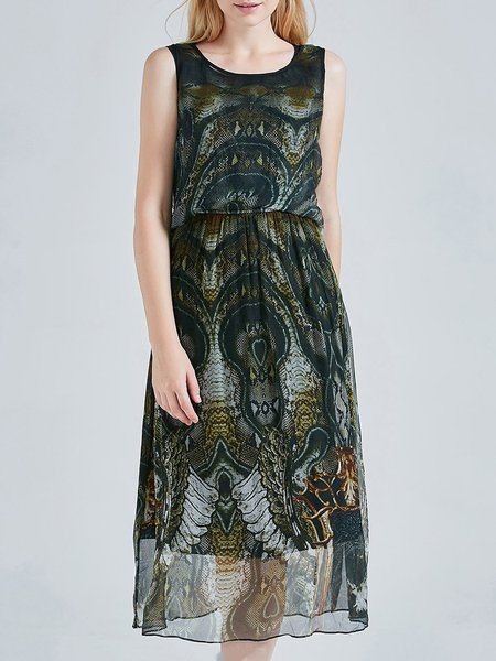 Dark Green Sleeveless A-line Crew Neck Printed Midi Dress