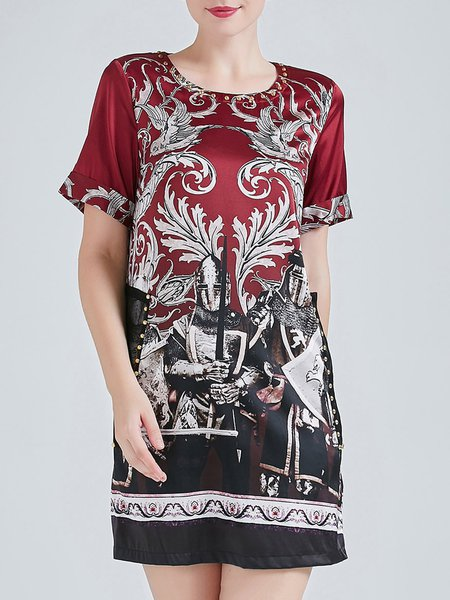 Short Sleeve A-line Vintage Silk Printed Mini Dress