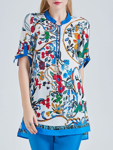 Blue Floral Short Sleeve Blouse