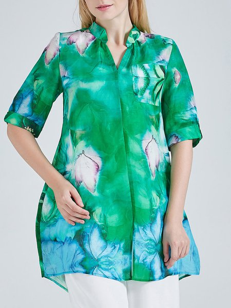 Green V Neck Floral Printed Half Sleeve Stand Collar Tunic