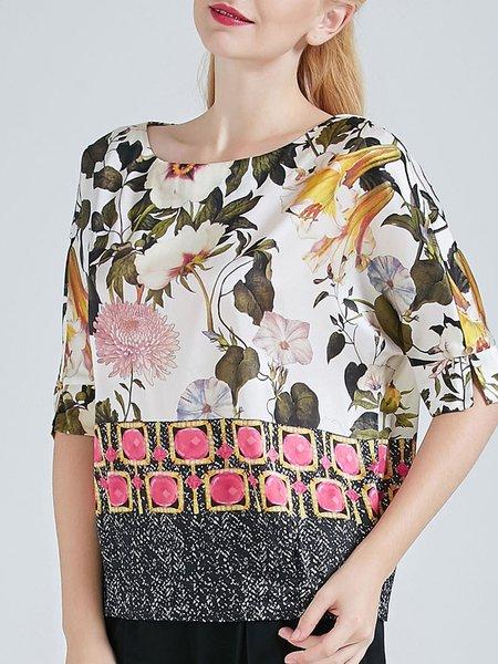 Silk Floral Print Half Sleeve Vintage Silk Blouse