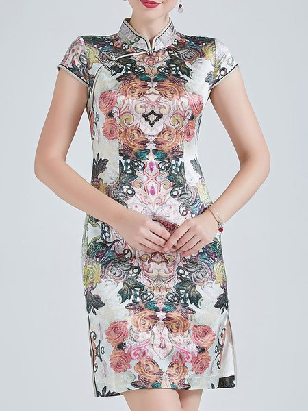 Short Sleeve Elegant Floral-Print Silk Vintage Mini Dress