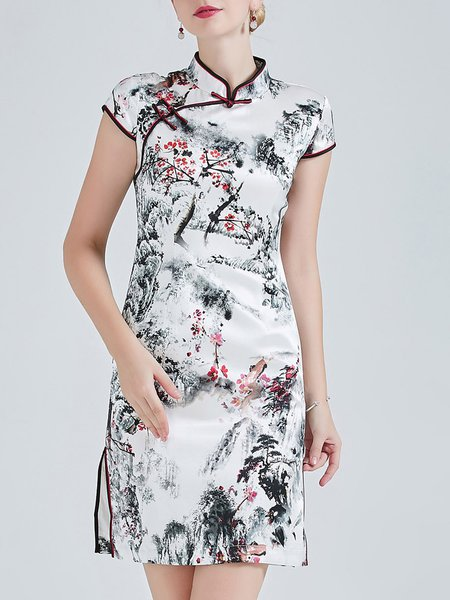 White Printed Elegant Sheath Floral Mini Dress