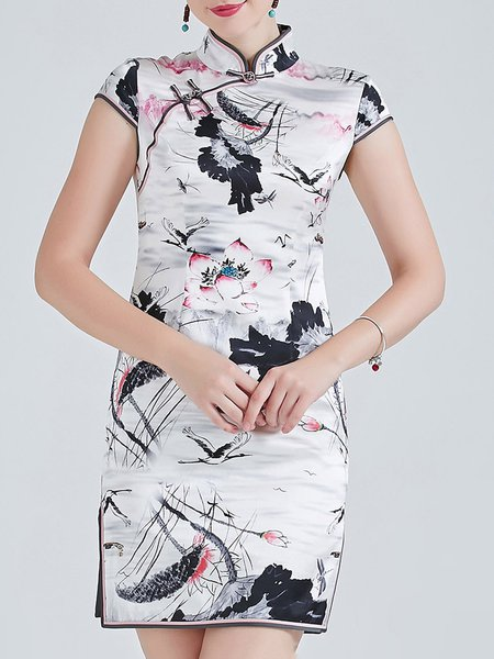 Short Sleeve Elegant Stand Collar Vintage Floral Print Silk Mini Dress