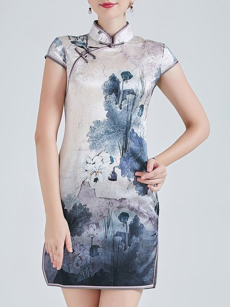 Gray Stand Collar Printed Elegant Floral Mini Dress