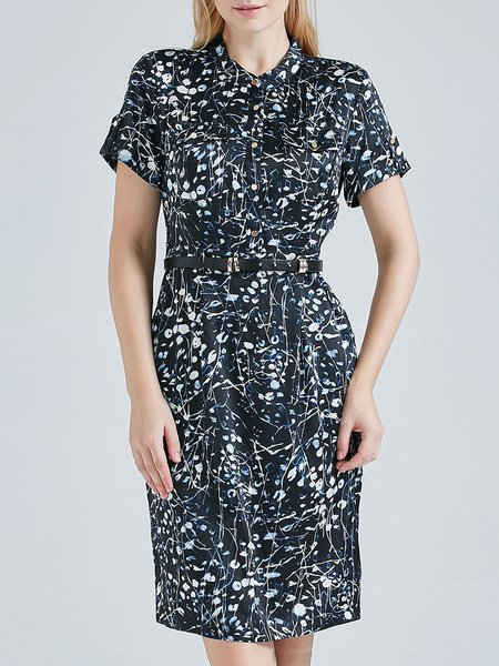 Black Printed Stand Collar Short Sleeve A-line Silk Midi Dress