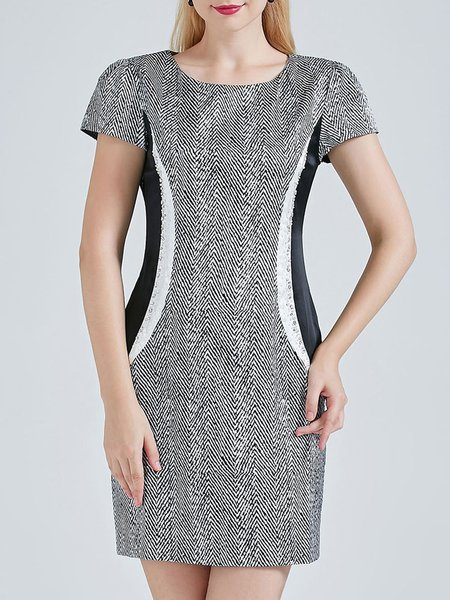 Simple Sheath Short Sleeve Color Block Printed Silk Mini Dress