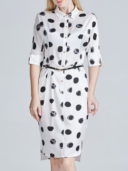 Printed Half Sleeve Casual Shirt Collar Polka Dot Silk Shirt Dress