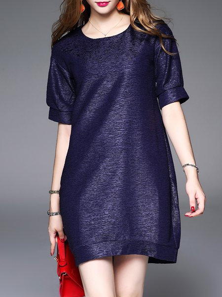 Dark Blue Crew Neck Short Sleeve Mini Dress