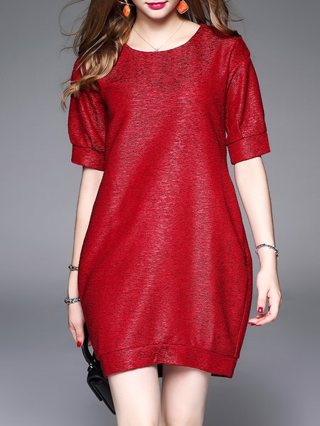 Red Shift Crew Neck Casual Mini Dress