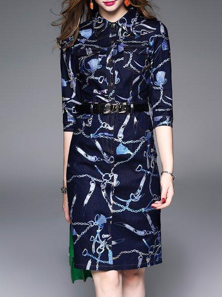 Printed 3/4 Sleeve Shirt Collar Vintage H-line Midi Dress