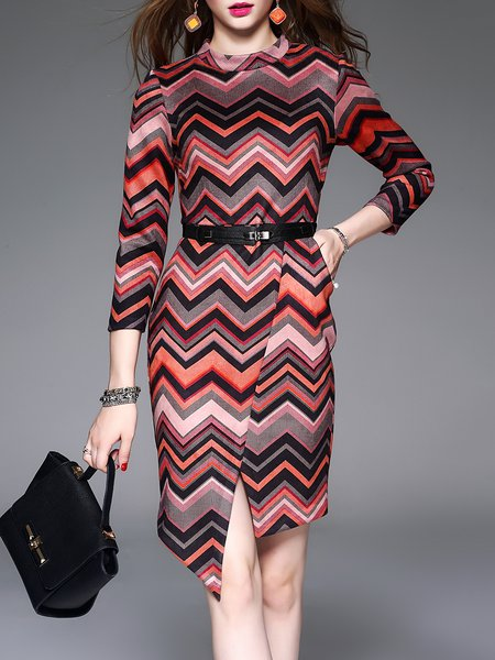 Elegant 3/4 Sleeve Printed Stripes Midi Dress with Belt