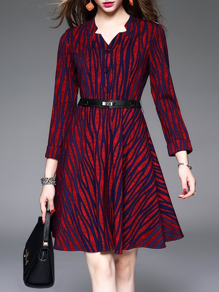 Red Abstract Printed A-line Vintage Midi Dress with Belt