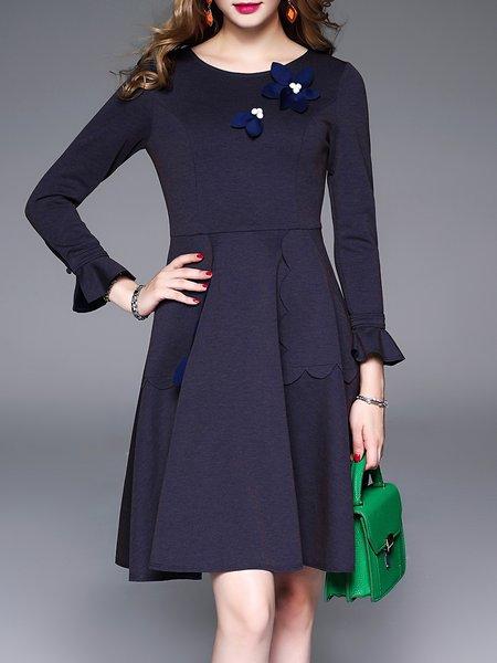 Navy Blue Crew Neck Girly A-line Appliqued Midi Dress