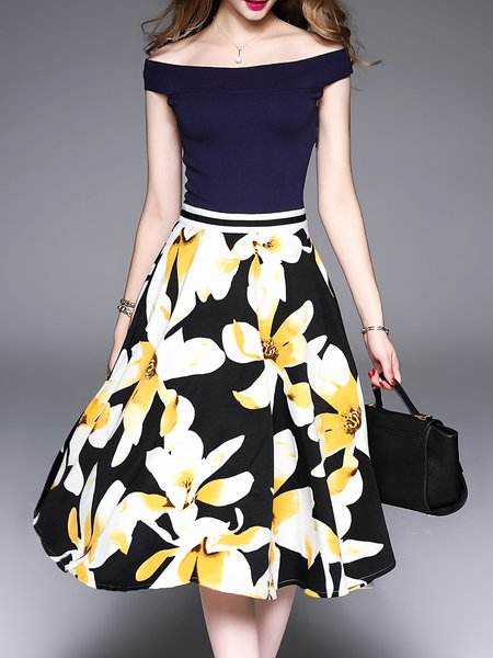 Yellow Off Shoulder Elegant Floral Printed Swing Midi Dress
