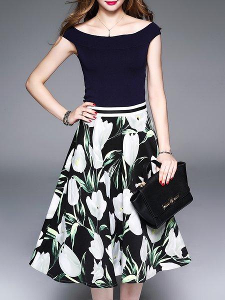 Green Off Shoulder Elegant Floral Printed Midi Dress