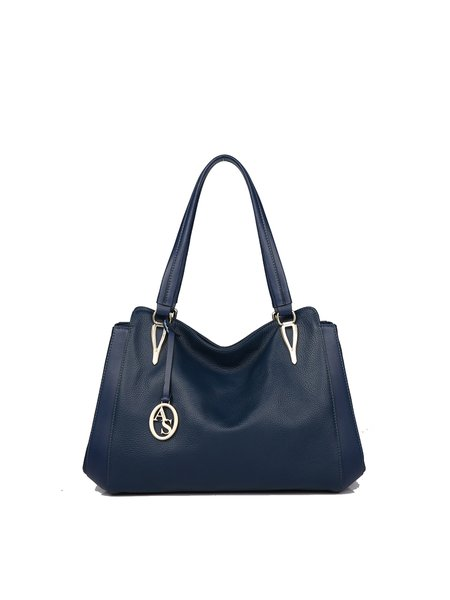 Dark Blue Medium Simple Cowhide Leather Shoulder Bag
