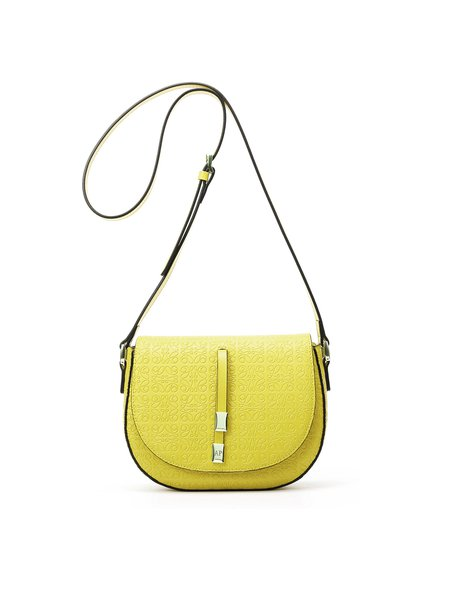 Yellow Small Embossed Cowhide Leather Casual Crossbody