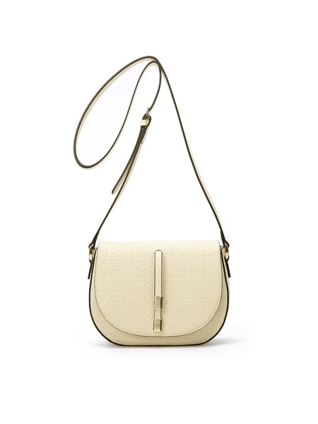 Beige Embossed Cowhide Leather Zipper Crossbody