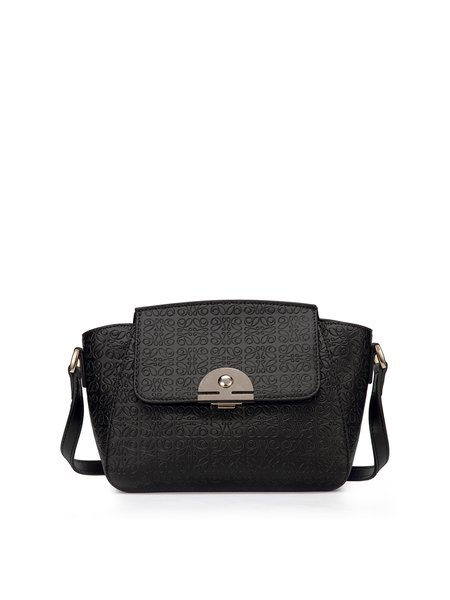 Black Casual Push Lock Embossed Cowhide Leather Crossbody