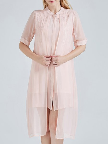 Pink Plain Silk Short Sleeve Asymmetric Midi Dress