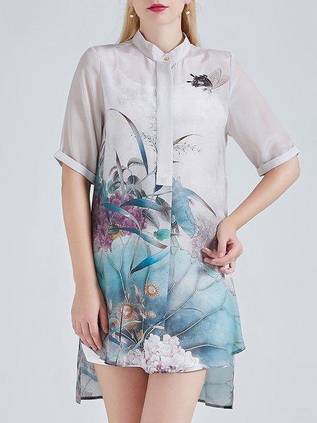 Half Sleeve Floral Vintage Asymmetric Floral Print Tunic