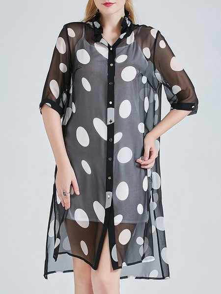 Black Half Sleeve Asymmetric Polka Dots See-through Look Slit Silk Tunic