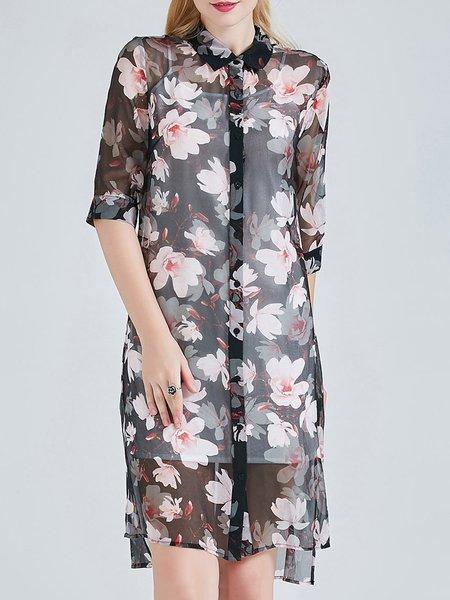 Silk Shirt Collar Vintage Half Sleeve Slit Floral Print Tunic