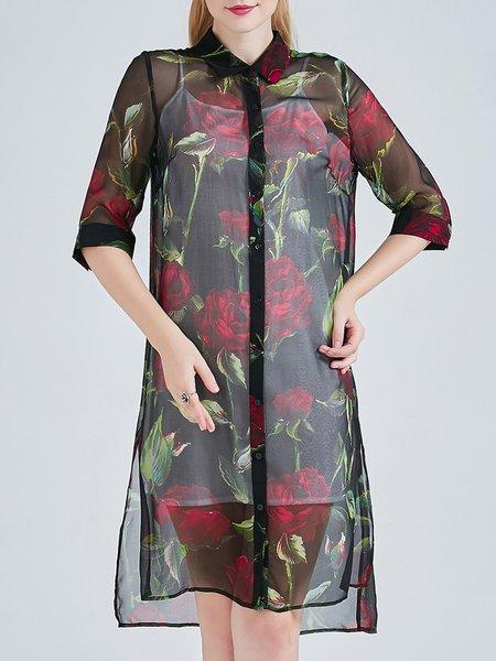 Black H-line Asymmetric Floral Print Vintage Midi Dress