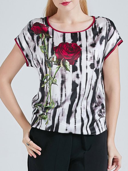Black Casual Floral Print Silk Blouse