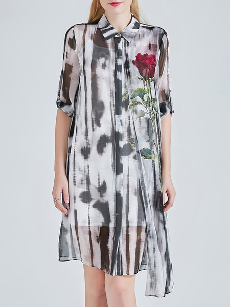 Vintage Floral Asymmetric Shirt Collar Half Sleeve Silk Midi Dress