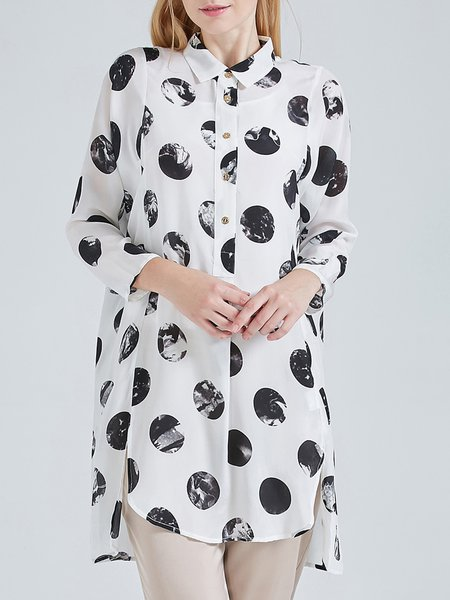 White Asymmetric Long Sleeve Shirt Collar Polka Dot Silk Tunic